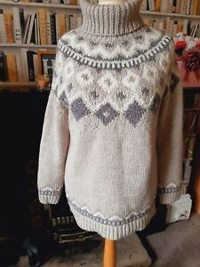 NEXT Grey Brown Beige Alpaca & Wool Polo Neck Chunky Jumper size L