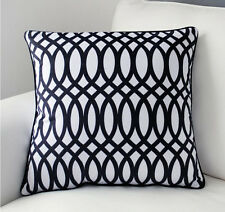 "Black & White Geometric Pattern Pillow Case Decorative Cushion Cover Sham 18""x18"