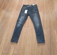 Zara Ripped Paint Splatter Skinny Jeans Size 32 BNWT