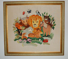 Vtg Finished Completed Framed Retro Wall Art Crewel Embroidery animal menagerie