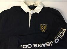 Ralph Lauren Polo Jeans Rugby Shirt Men's Large Black With Crest Long Sleeve
