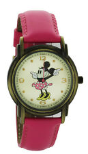 Disney Minnie Mouse Antique Gold Tone Pink Leather Classic Moving Hands Watch