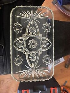 Anchor hocking EAPC early American vintage star of David pattern Relish Dish