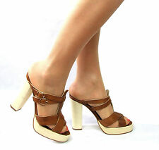 BIBA Womens Shoes Size 5 Slip On Mules Sandals Brown Tan Block High Heels Clogs