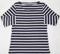 Black White Tee Shirt 10 Ten Slash Neck 3/4 Sleeve Womens Striped Atmosphere Top