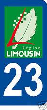 1 Sticker plaque immatriculation AUTO adhésif département 23
