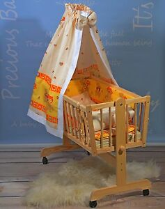 Babywiege Baby Stubenwagen Komplett Set Himmel Matratze 6 Farben Massivholz NEU