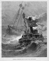 TUGBOAT SHIPS CHRISTMAS GREETINGS 1889 STORMY SEASCAPE NAUTICAL  ENGRAVING SHIP