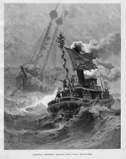 TUGBOAT SHIPS CHRISTMAS GREETINGS 1889 STORMY SEASCAPE NAUTICAL  ENGRAVING SHIP