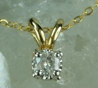 NEW Genuine Solid 9CT Yellow Gold, 0.10 Carat Natural Diamond Pendant with Chain