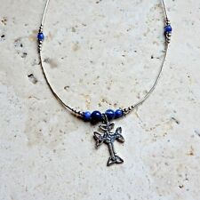 necklace w/ Sodalite gemstone beads .925 Sterling silver Celtic Iona Cross