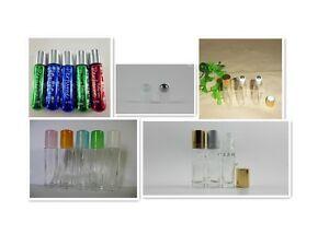30pcs roll on glass bottle metal steel roller ball 4.5ml 5ml 6ml 8ml color cap