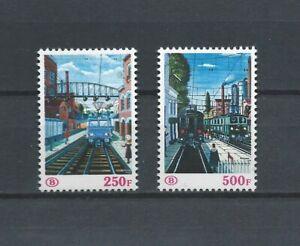 Belgium 1985 paul delvaux trains paintings railway stamps set mnh** TR 459/460