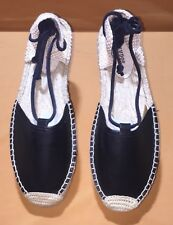 Soludos Women's Black Leather Laced-up Espadrilles Sz 10