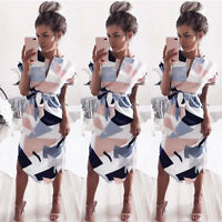 Women Short Sleeve Midi Dress Summer Holiday Floral Print Party Prom Dress Sale