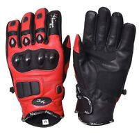 Red Short Leather Knuckle Protection Motorbike Motorcycle Gloves