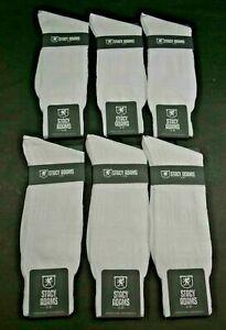 Lot of 6 New Stacy Adams Men's White Dress Socks Shoe Size 6-12.5 Rayon Blend