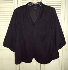 Maggie Barnes Women's Plus size 22/24  Black Poly 3/4 Sleeve One Button Jacket