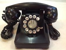 Vintage Art Deco Rotary Phone Pyramid Desk Western Electric F1 Black 1930 1940