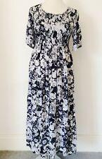 Franken Size 14 16 18 Navy White Floral Maxi DRESS Shirred Bodice Summer Holiday
