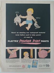 1955 Playtex Powderpuff pink baby pants underwear soft as bunnies ear ad