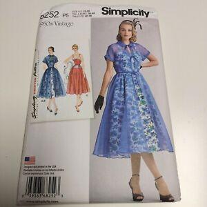 Simplicity 8252 Retro 1950s Ladies Evening Dress Pattern NEW Uncut sz 12- 20