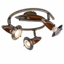 Traditional Ceiling Spotlight kitchen light fitting antique brass wood by globo