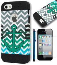 For iPhone 5 5S 5G Black/Green Anchor Chevron Hard Case+Screen Protector+Stylus