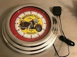 """MOTORCYCLE  Sales & Service Neon 12"""" Wall Clock Glass Face Chrome Finish"""