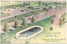 Hal Orr's Motel in Rocky Mount NC Artist Walter Bowers Postcard