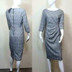 M&S Checked TAILORED 3/4 Sleeve DRESS ~ Size 12 ~ GREY Mix
