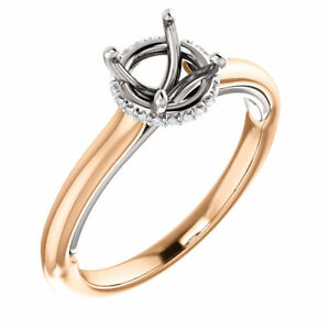14K Rose & White Gold Round Semi Mount Accented Solitaire Engagement Wedd Ring