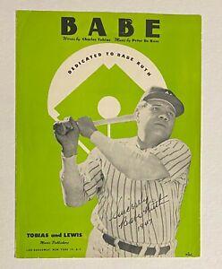 1947 Babe Ruth Sheet Music Facsimile Signed Tobias & Lewis Publishing Company