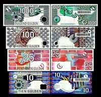 2x  10, 25, 100, 1000 Gulden - Edition 1989 - 1997 - Reproduction - NL 01