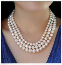 triple strands 8-10mm round Akoya white pearl necklace18-20inch JN237