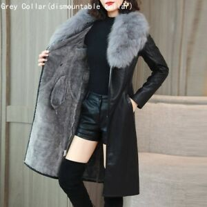 Lady Faux Fur PU Leather Trench Coat Jacket Belted Slim Winter Warm Outwear Tops