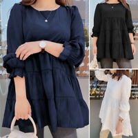 ZANZEA Womens O Neck Full Sleeve Plain Tunic Loose Long Shirt Tops Casual Blouse