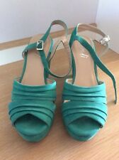 VERALI BRAND SUEDE LOOK WEDGES, GREEN, SIZE 9