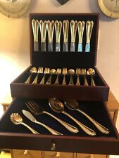 HAMPTON SILVERSMITH Stainless 215 - 106 Pcs - Orig Chest - GOLD Electro-plate