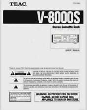 TEAC V-8000S - Stereo Cassette Tape Player Operating Instruction - USER MANUAL