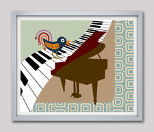 Art Wall Print Music Bird Piano Keyboard Decor Colorful Design Abstract Painting