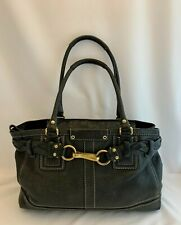 Coach Black Leather Hamptons Braided Satchel Handbag Bag Purse MSRP $398