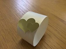 15 NAPKIN-SERVIETTE RINGS IVORY WITH HEARTS. CUTE MIRROR DOUBLE HEARTS