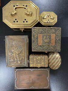 Antique Sterling Silver on Copper Bronze Brass Handmade Trinket Box Lot Vintage