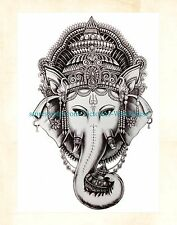 """US Seller- body decal Indian god Ganesha 8.25"""" large arm tattoo temporary"""