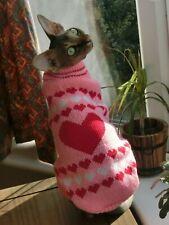 kitten HEART Winter sweater for a Sphynx cat - Christmas pet costume, winter cat