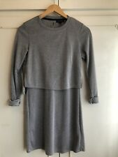 TOPSHOP Navy Grey Linear Stripe Overlay Layered Mini Tunic Dress size 6 euro 34