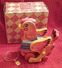 """Vintage Fisher Price #140 Katy Kackler / The Cackling Red Hen Pull Toy """"Mib"""""""