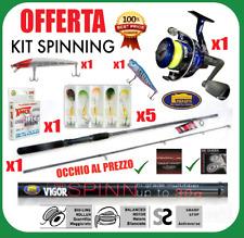 Kit Canna da pesca a spinning + mulinello + filo + minnow popper spigola trota