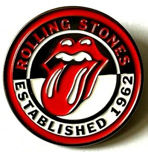 THE ROLLING STONES - Established 1962 - Studded Enamel Metal Pin Badge